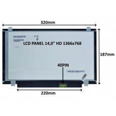 """LCD PANEL 14,0"""" HD 1366x768 40PIN MATNÝ / ÚCHYTY NAHOŘE A DOLE"""