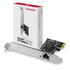 AXAGON PCEE-GRH, PCIe síťová karta - 1x Gigabit Ethernet port (RJ-45), Realtek, vč. LP