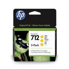 HP 712 Ink. náplň žlutá, trojbalení; 3ED79A