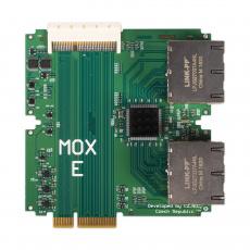 Turris MOX E, modul routeru Turris MOX, 8× LAN port 10/100/1000 Mbps (RJ-45), 1× 64 pin konektor pro připojení dalších modulů
