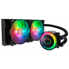 vodní chladič Cooler Master MasterLiquid ML240R RGB, 277mm x 120mm radiátor, 2 x 120mm RGB ventiláto