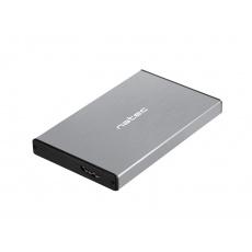 """Externí box pro HDD 2,5"""" USB 3.0 Natec Rhino Go, šedý, hliníkové tělo"""