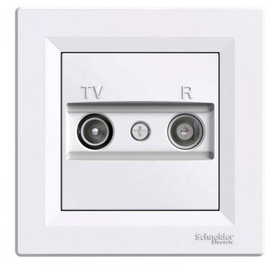 Asfora zásuvka TV+R průběžná 4dB White