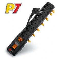 Rozvodný panel ACAR P7/3m 5+2x220V černý+přep.ochr