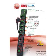 Rozvodný panel ACAR ECO 6x220V černý přep.ochrana