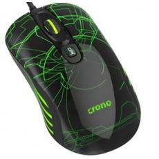 Crono OP-636G, myš herní laserová, 800/1600/3200 DPI, LED podsvícení zelené, USB