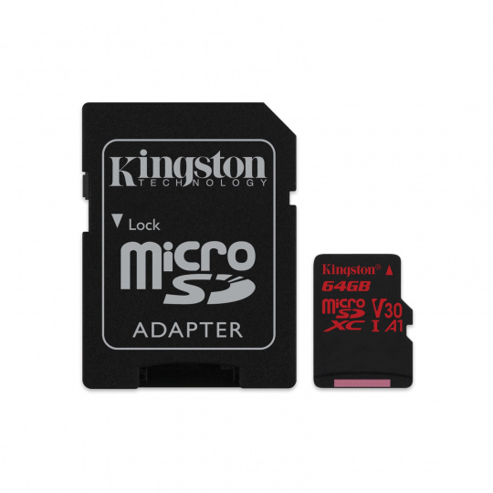64GB microSDXC Kingston Canvas React  U3 100R/80W V30 A1 + SD adapter
