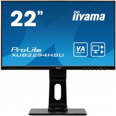 "22"" iiyama XUB2294HSU-B1: VA, FullHD@75Hz, 250cd/m2, 4ms, VGA, HDMI, DP, USB, height, pivot, černý"