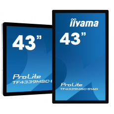 """43"""" iiyama TF4339MSC-B1AG: AMVA, FullHD, capacitive, 12P, 400cd/m2, VGA, HDMI, DP, 24/7, IP54, černý"""