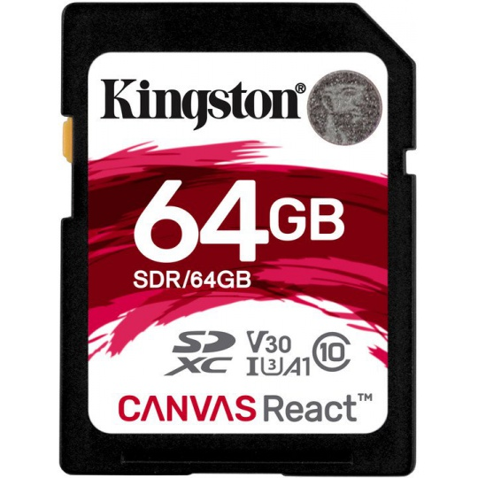 64GB SDXC Kingston Canvas React U3 V30 A1 100R/70W