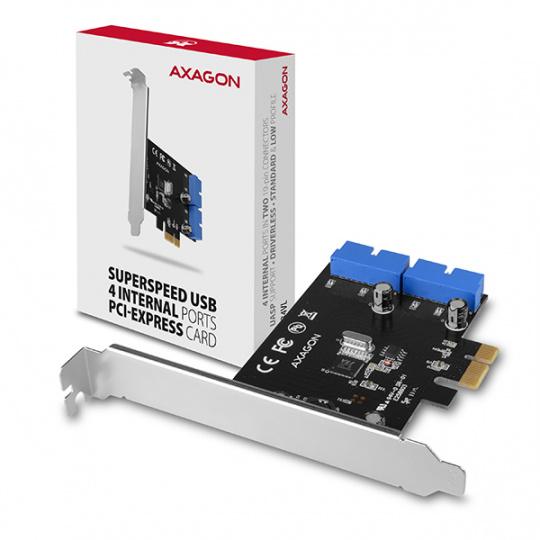 AXAGON PCEU-034VL, PCIe řadič, 2x interní 19-pin USB 3.2 Gen 1 port, UASP, vč. LP
