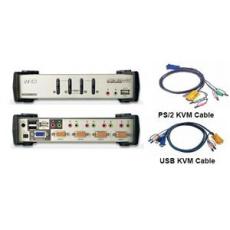 ATEN 4port KVMP USB+PS/2, USB HUB, audio, 1.2m