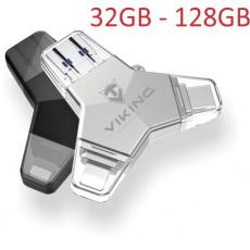 VIKING USB FLASH DISK 3.0 4v1 64GB, S KONCOVKOU APPLE LIGHTNING, USB-C, MICRO USB, USB3.0, černá