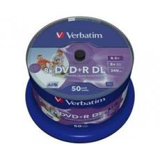 VERBATIM DVD+R, DoubleLayer /8x/8,5GB/50pack/Print