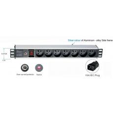 """19"""" rozvodný panel 1U,7x 220V,koncovka kab.IEC,16A"""