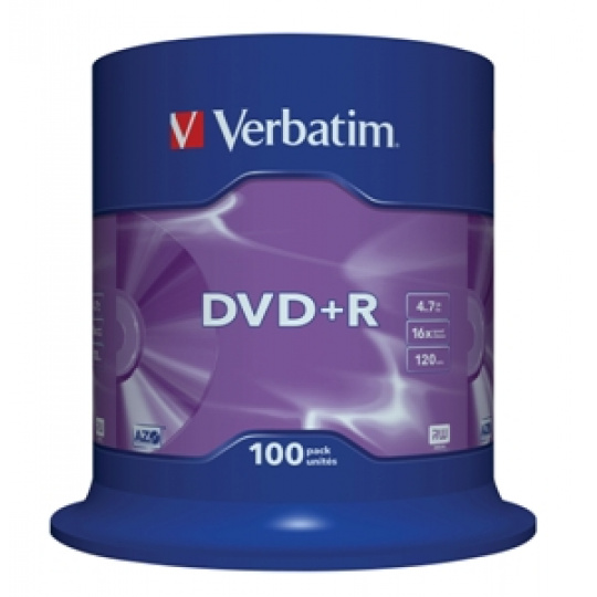 VERBATIM DVD+R(100-Pack)Spindl/MattSlvr/16x/4.7GB