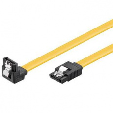 PremiumCord 0,3m SATA 3.0 datový kabel, 6GBs, kov.západka, 90°