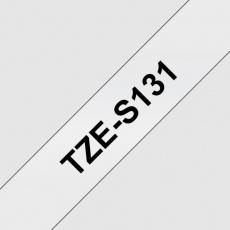 TZE-S131, průsvitná / černá, 12mm