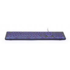 Gembird klávesnice drátová černá, podsvícená