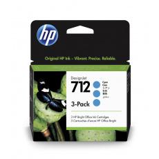 HP 712 Ink. náplň azurová, trojbalení; 3ED77A