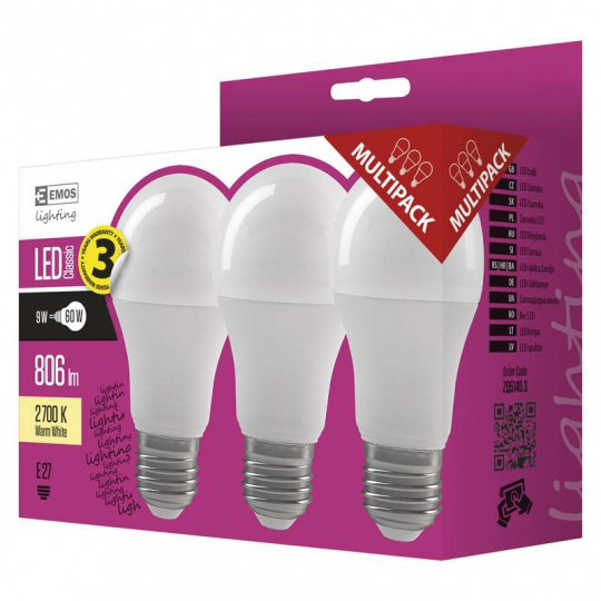 EMOS LED ŽÁROVKA CLASSIC A60 9W E27 teplá bílá 3ks