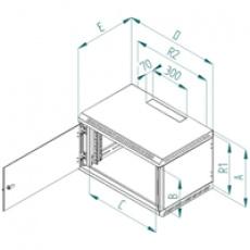 Nástěnný rozvaděč jednodílný 12U/395mm plech.dveře