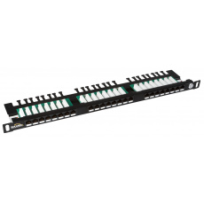 "19"" Patch panel Solarix 24xRJ45 CAT5E UTP černý"