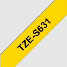TZE-S631, žlutá/černá, 12mm