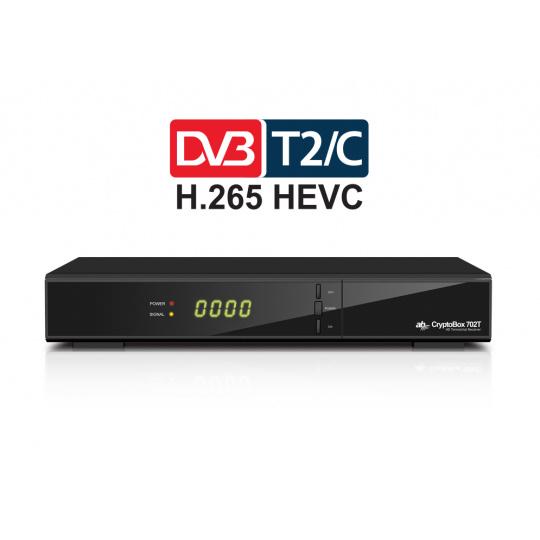 AB CryptoBox 702T HD / Full HD / MPEG2 / MPEG4 / HEVC / USB / černý