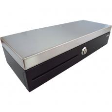 Pokladní zásuvka flip-top FT-460C2 - s kabelem, se zamyk. krytem pořadače, Nerez víko, 9-24V, černá