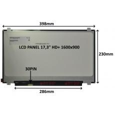 """LCD PANEL 17,3"""" HD+ 1600x900 30PIN MATNÝ / ÚCHYTY NAHOŘE A DOLE"""