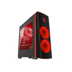 Genesis Titan 700 Red počítačová skříň (USB 3.0), 3 ventilátory s červeným podsvícením