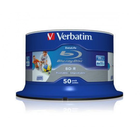 VERBATIM BD-R SL (6x, 25GB),printable, 50 cake