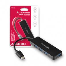 AXAGON HUE-G1C, 4x USB 3.2 Gen 1 SLIM hub, kabel Type-C 14cm napevno