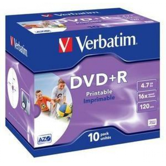VERBATIM DVD+R (10-pack)Printable/16x/4.7GB/Jewel