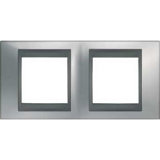 Top rámeček 2-násobný Cromo mat/Grafit