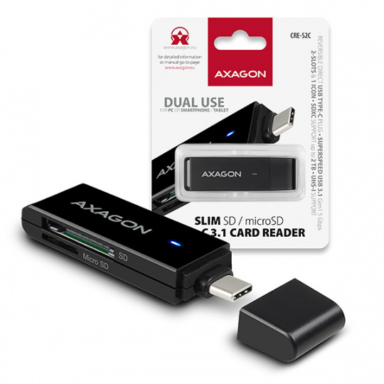 AXAGON CRE-S2C, USB 3.1 Type-C - externí SLIM čtečka 2-slot SD/microSD, podpora UHS-I