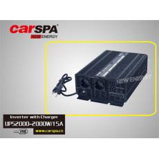 Měnič napětí Carspa EPS2000-12 12V/230V 2000W s nabíječkou 12V/15A a funkcí UPS