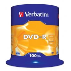 VERBATIM DVD-R(100-Pack)Spindl/MattSlvr/16x/4.7GB