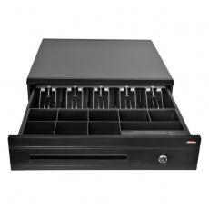 Pokladní zásuvka C425C - s kabelem, kovové držáky, 9-24V, černá