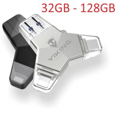 VIKING USB FLASH DISK 3.0 4v1 64GB, S KONCOVKOU APPLE LIGHTNING, USB-C, MICRO USB, USB3.0, stříbrná