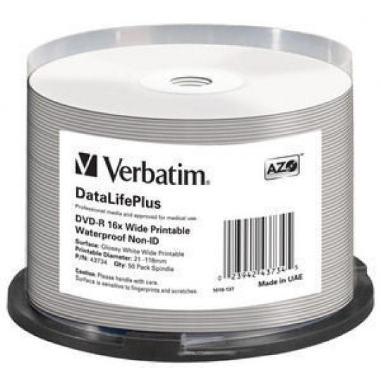 VERBATIM DVD-R (16xWide Waterproof,4,7GB),50cake