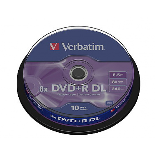 VERBATIM DVD+R(10-Pack)Spindl/MattSlvr/8x/8.5GB