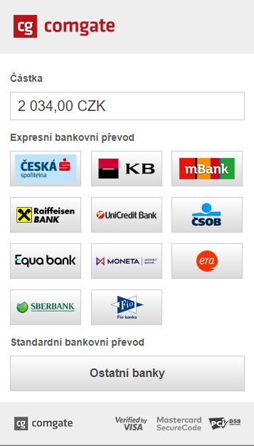 Tlačítka bank pro rychlý bankovní převod